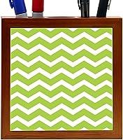 Rikki Knight Chunky Chevron Lime Green Zig Zag Design 5-Inch Tile Wooden Tile Pen Holder (RK-PH44683) [並行輸入品]