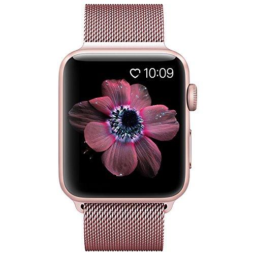 BRG コンパチブル apple watch バンド,ミラネーゼループ コンパチブルアップルウォッチバンド ステンレス留め金製 アップルウォッチ4 コンパチブル apple watch series4/3/2/1に対応(38mm/40mm,ローズゴールド)