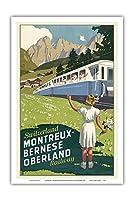 スイス - モントルー - ベルンヌオーバーラント鉄道 - チョコレート列車 - ビンテージな世界旅行のポスター によって作成された オットー・バウムバーガー c.1940 - アートポスター - 31cm x 46cm