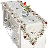(ビグッド) Bigood 優雅 40 * 290cm テーブルランナー レース 刺繍 花柄 テーブルセンター 食卓飾り タッセル付き パーティー インテリア 装飾