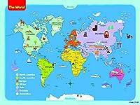 ImageNCraft 子供用世界地図 カラフルなデザインとイメージ 子供、学生、両親、先生などに最適 18 x 24 Inch