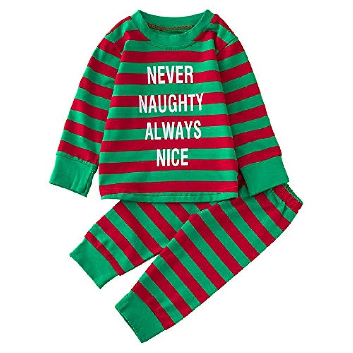 死傷者所有者怠惰BHKK 赤ちゃん幼児少年少女レタープリントトップスTシャツ+パンツクリスマスコスチューム 6 ヶ月-24 ヶ月 18ヶ月