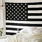 """Traditional Jaipur 黒と白のアメリカの旗のタペストリー、双インドの壁掛け、ボヘミアンの寝具、ヒッピーピクニックスロー、ボホビーチブランケット、ヒッピー寮の部屋の装飾,55""""x85"""", American Flag Tapestry Wall Hanging"""
