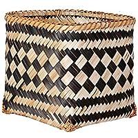 DCAH ストレージバスケットノルディックスタイル黒と白の織りストレージバスケットフラワーバスケットの装飾クリエイティブホームインドアリビングルームバンブーオーナメント Laundry basket (色 : A)