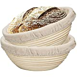 SODIAL 2 Packs 9 Inch Bread Proofing Basket - Baking Dough Bowl Gifts for Bakers Proving Baskets for Sourdough Lame Bread Sla