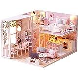 DIY Wooden Dollhouse Handmade Miniature Kit- Leisurely Time Pink Room Model & Furniture