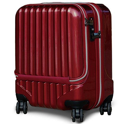 スーツケース 機内持込 軽量 小型 フロントオープン ダブルファスナー 4輪 ss 【W-Receipt】 キャリーケース キャリーバッグ 前ポケット (SS-33L, スクラッチ/パールワイン)