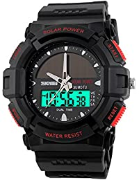 子供腕時計 学生腕時計 ソーラー エコドライブ アナデジ 50m防水 デジタル表示 アラーム ストップウオッチ 曜日 日付機能 省エネ 赤