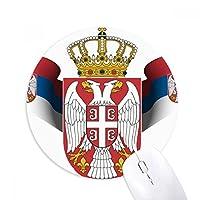 Serbia National Emblem国ラウンドノンスリップゴムマウスパッドゲームOfficeマウスパッドギフト