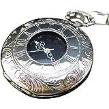 [モノジー] MONOZY アンティーク 懐中時計 - 白銀の懐中時計 - 【収納袋・化粧箱 セット】 レトロ シルバー メタリック