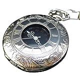 [モノジー] MONOZY 白銀の 懐中時計 ふた付き アンティーク 風 シルバー メタリック 収納袋 化粧箱