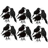 amleso ハロウィン用 装飾 写真用 小道具 カラス 鳥 フェンス用 枝用 約18個入り