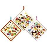 [3種セット] Disney TSUM TSUM(ディズニーツムツム) ループ?ネームタグ付き ハンドタオル 33x33cm 「ディズニー?ツムツム」、「アニマル?ツムツム」、「ディズニー?ツムツム(小ロゴ)」