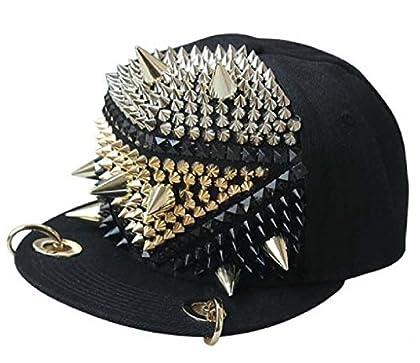 Gumstyle Rファッションユニセックス野球キャップスナップバック調節可能ヒップホップ帽子Punk Boy GirlリベットスパイクスタッズボタンとげFighter US サイズ: M カラー: ブラック