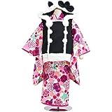 (アキナミナミ) AKINA MINAMI 七五三 着物セット 3歳 女の子 黒被布×ピンク着物 薔薇 レース さくらんぼ チェック