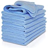 VibraWipe Microfiber Cleaning Cloths, All-Blue Color Pack, 8 Pieces, 14.2 In X 14.2 In. Highly Absorbent, Lint And Streak Free, Wash Cloth For, Car, Window