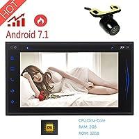 EinCar 2ギガバイト32ギガバイト7インチのAndroid 7.1 OSカーステレオシステムダッシュGPSナビゲーション車のビデオヘッドユニットのサポートステアリングホイールUSBのSD無線LAN OBD2 Mirrorlink / AirplayのサポートCD DVD Palyer機能+バックミラーカメラで2 DIN