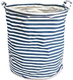 NKTMランドリーボックス 麻製の洗濯物用かご  折り畳み式の洗濯物入れ しま模様 ブルー