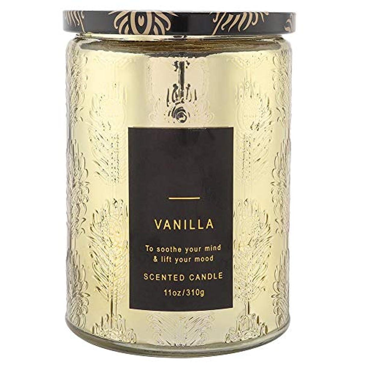 称賛着服スペア香りのキャンドルギフトセット、繊細な天然ワックス香りのキャンドルバニラウイスキーワックスストレス緩和、誕生日、クリスマスのための透明なガラスボトル、