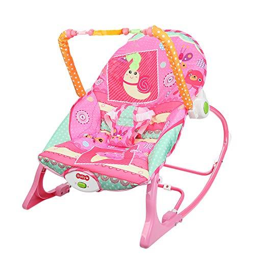 Feemom(フィーマム) バウンサー ゆりかご ロッキングチェア 新生児 赤ちゃん 出産祝い 1ヶ月から36ヶ月適用 (ピンク)