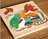 Hostar 人気の木製パズル 恐竜シリーズ 子供 はめこみ 形合わせ おもちゃ 3才から パズル 幼児 知育玩具 木のおもちゃ