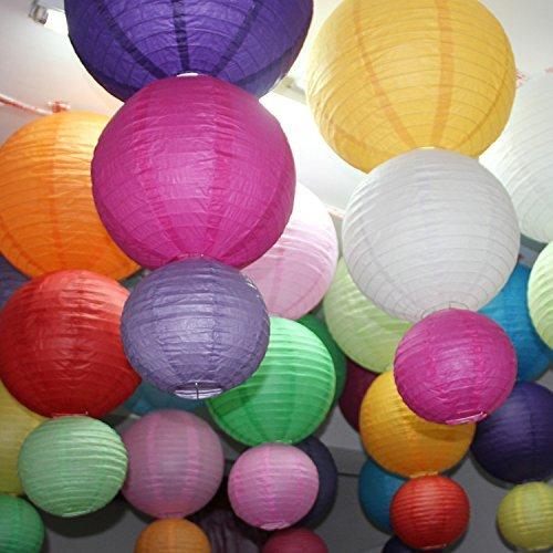 Yuelian(TM) 紙提灯 ちょうちん 丸型 イベント お祭り 屋台 出店に 無地 多色 9ヶセット (直径  20cm)