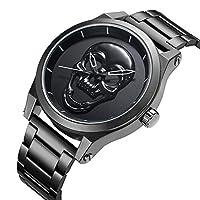 腕時計 メンズ ファッション 大きな文字盤 ブラック スカル ステンレススチール製バンド スタイリッシュ クール ステンレススチール 30 M 防水 メンズ