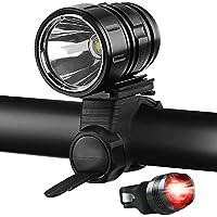 自転車 ライト 1200ルーメン 明るい フロントライトセット ロードバイク LED ライト IPX6 防水 USB充電式 バッテリー テールライト付 通勤/サイハイキング/ハイキング/釣りに適 – (ブラック)