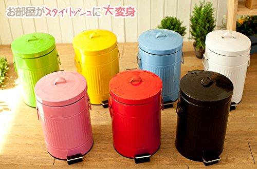 ゴミ箱 (5L, ホワイト) 7種類の色 3種類のサイズ ペダルペール スチールラウンド型 ワンタッチ おしゃれ さまざまな種類が いろいろな場所で 使用可能 5L/12l/20L