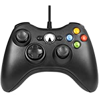 USB コントローラー, Bliplus ゲームパッド Microsoft Xbox&Slim 360 PC Windows 7適用 (ブラック)
