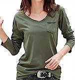 【 Big laugh 】 レディース トップス 長袖 カットソー Tシャツ 無地 Vネック 薄手 ポケット カジュアル おしゃれ ( グリーン , XL )