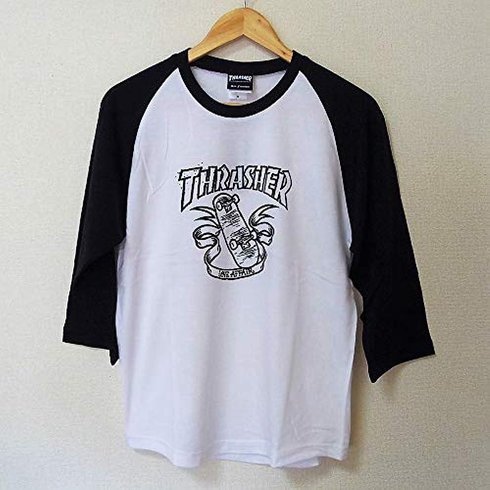 居間再撮りドルTHRASHER 七分袖Tシャツ ラグラン スラッシャー ラグラン ホワイト LOVE AFFAIR RAGLAN TH8205