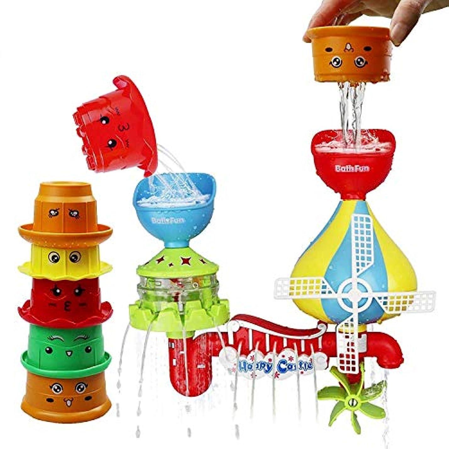 類推観客オピエートガールズ - 幼児 - ボーイズのための赤ちゃんの思考能力と創造グレート玩具を強化することにより、5つのスタッカブルカップとTONINIベビーバスおもちゃの-Waterfallウォーター駅