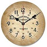 Hanpiaotech ウォールクロックノンティックナンバークォーツウォールクロックリビングルーム装飾屋内時計ベッドルームクロックキッチン時計 装飾的な掛け時計 (Color : Retro Kraft Paper Stereo, サイズ : Other)