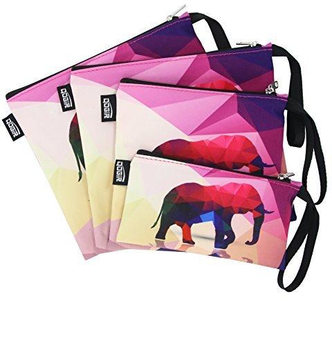 QOGIR再利用可能なスナックバッグand Sandwich Bags Withハンドル( Set of 4?) :鉛フリー、BPAフリー、PVCフリー、FDA Passed グレー