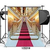 sjoloon 10x 10ftシンビニールレッドカーペットウェディング写真背景Golden Palace Backdrops for Photo Studio 10501