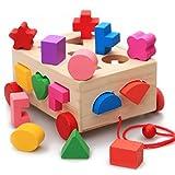 yasushoji 木のおもちゃ パズル 知育 玩具 形はめ ブロック ボックス 車 YS442