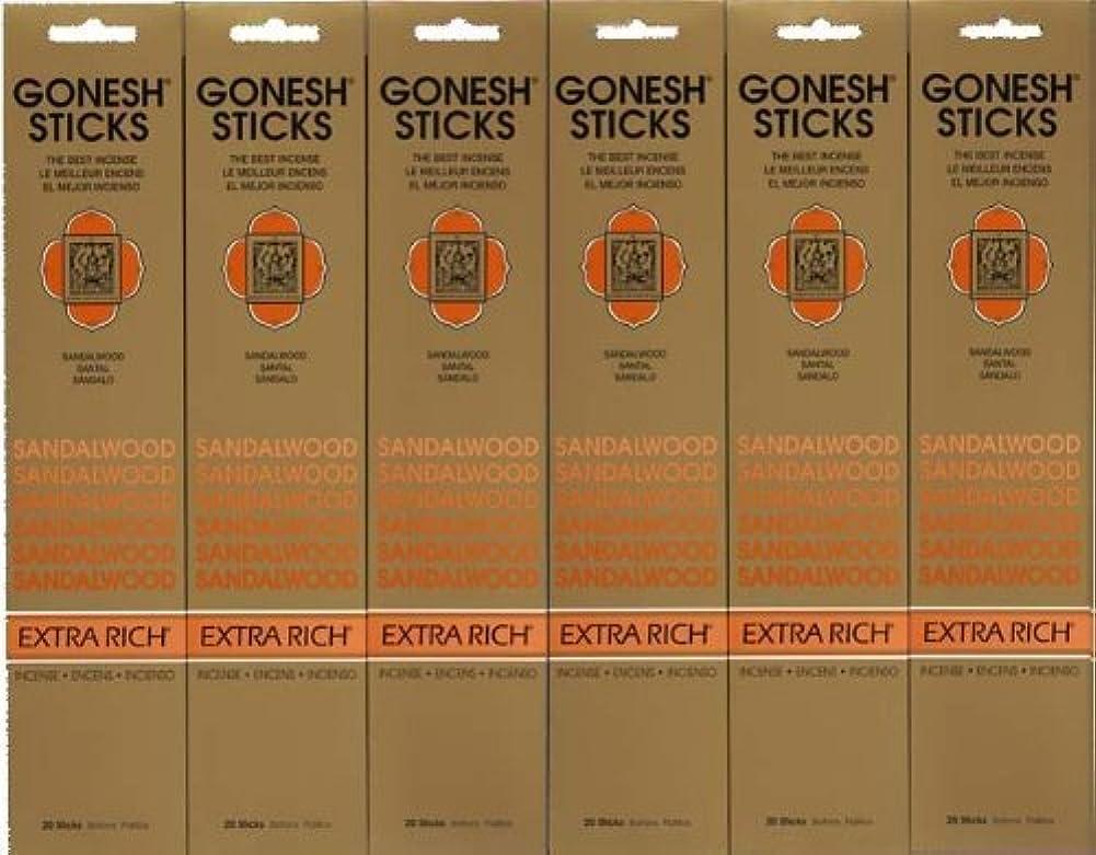 ひいきにする脱臼する必要性GONESH SANDALWOOD サンダルウッド 20本入り X 6パック (120本)
