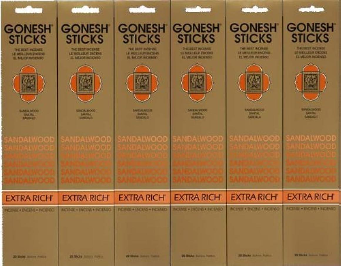 欠点矩形個人的なGONESH SANDALWOOD サンダルウッド 20本入り X 6パック (120本)