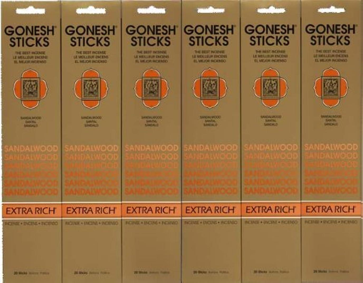 スロー単調な黒人GONESH SANDALWOOD サンダルウッド 20本入り X 6パック (120本)