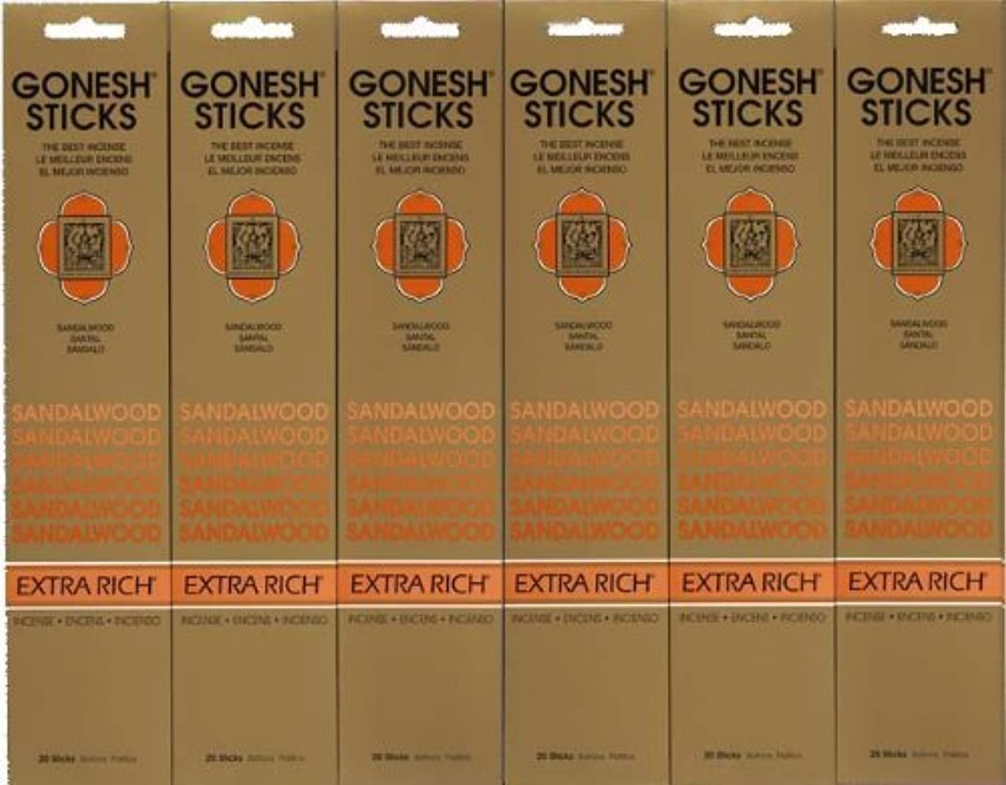 バズ消毒する牛GONESH SANDALWOOD サンダルウッド 20本入り X 6パック (120本)