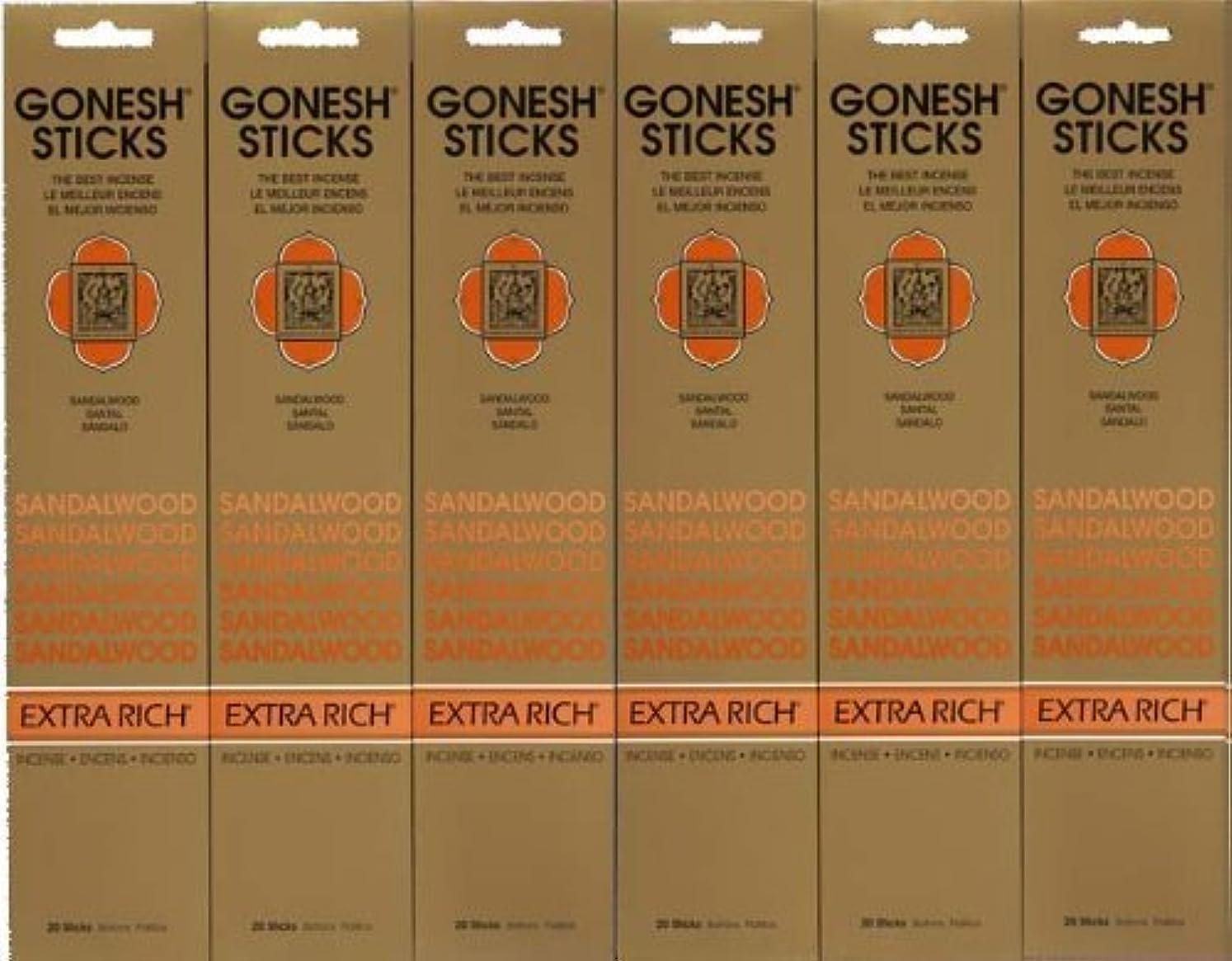 戸口食事を調理する成り立つGONESH SANDALWOOD サンダルウッド 20本入り X 6パック (120本)
