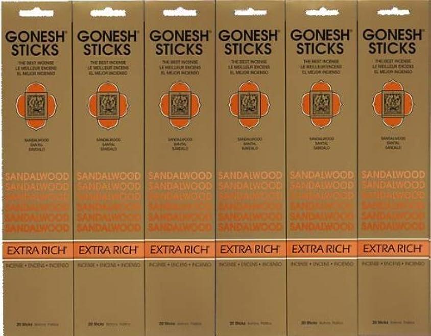 カイウス組み立てる指定GONESH SANDALWOOD サンダルウッド 20本入り X 6パック (120本)