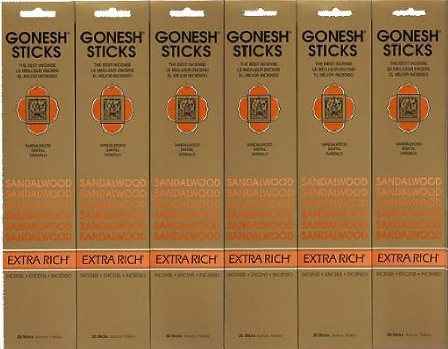 余暇活力教育するGONESH SANDALWOOD サンダルウッド 20本入り X 6パック (120本)