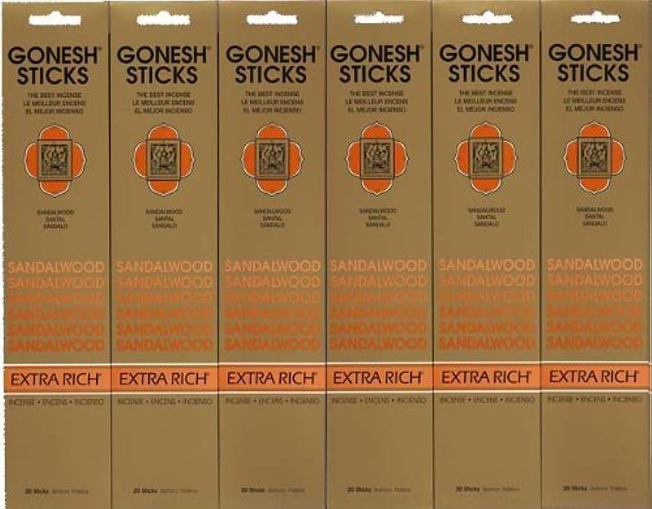 バクテリア溶融説得力のあるGONESH SANDALWOOD サンダルウッド 20本入り X 6パック (120本)