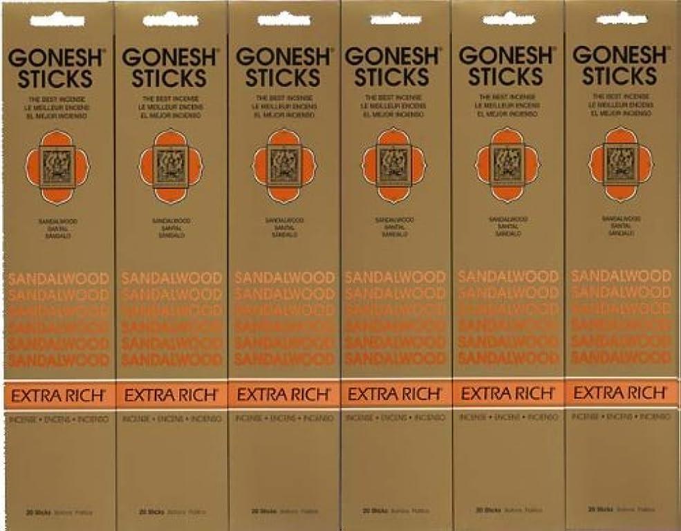 紫のパンフレット薬理学GONESH SANDALWOOD サンダルウッド 20本入り X 6パック (120本)