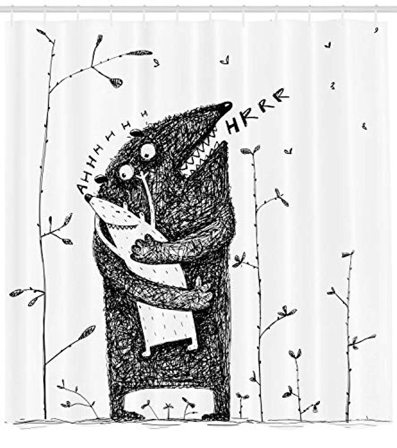 検体胚芽ぬれたQuirky装飾シャワーカーテンby MIMUTI、父と息子Monsters Hugging Caress Cuddle Feeling Love Parenthoodファミリ、ファブリックバスルームDecorセットwith...