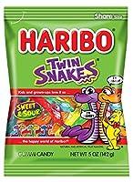 Haribo グミキャンディ、ツインスネークスウィート&サワー、5オズ。バッグ ツインヘビ 12のパック