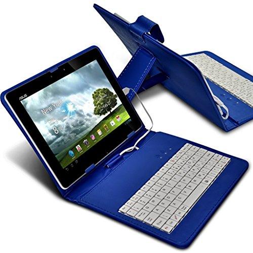 ONX3 (Blue) Apple iPad mini 超薄型調節可能なタブレットケースマイクロUSB接続付きのAndroidタブレット用QWERTYキーボードスタンドカバー