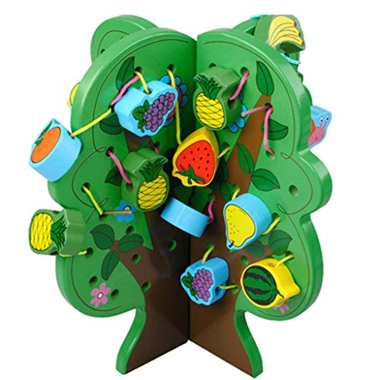 MagiDeal木製フルーツツリーThreadingビーズキッズLacingアクティビティパズルおもちゃゲーム# A